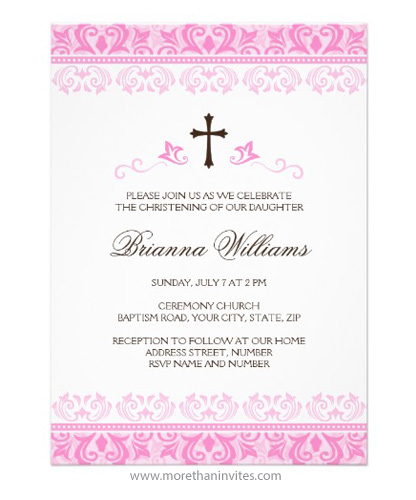 Pink Lace Damask Christening Baptism Invitation For Baby