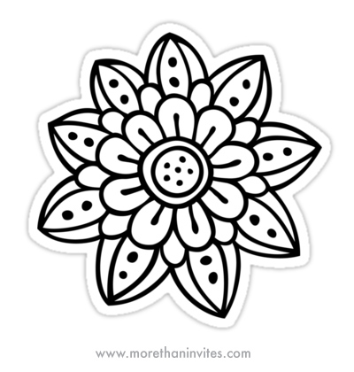 Whimsical Doodle Flower Sticker More Than Invites