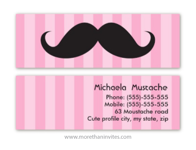 Cute Handlebar Mustache And Pink Stripes Personal Profile