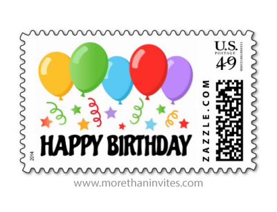 Happy Birthday Postage Stamp With Colorful Balloons Stars