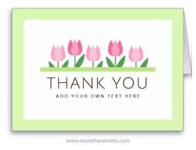 Personalized Folded Thank You Card With Pink Tulips