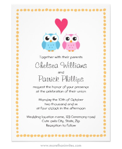 Cute Owl Couple Wedding Invitation With Whimsical Dot