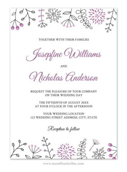 Elegant And Modern Wedding Invitation With Flower And