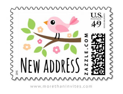 Cute New Address Moving Announcement US Postage Stamp