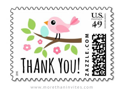 Baby Shower Thank You Postage Stamp With Pink Bird And Egg