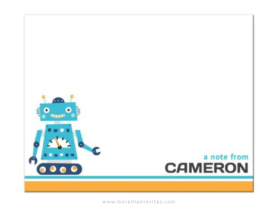 Retro Robot Personalized Flat Note Card For Kids More