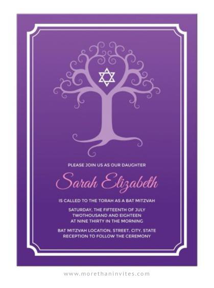 Elegant Tree Of Life Purple Bat Mitzvah Invitation More
