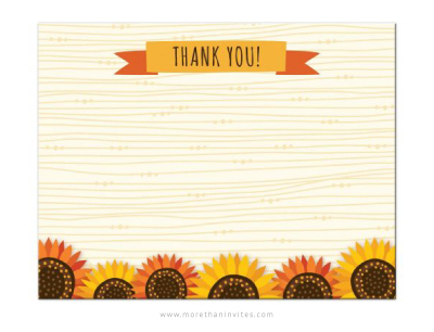 Sunflower Thank You Note Card With Whimsical Sunflowers On