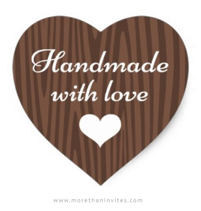 Handmade With Love Sticker Dark Wood Grain Heart More