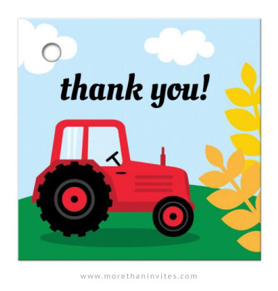 Farm Birthday Favor Thank You Tags With Red Tractor And