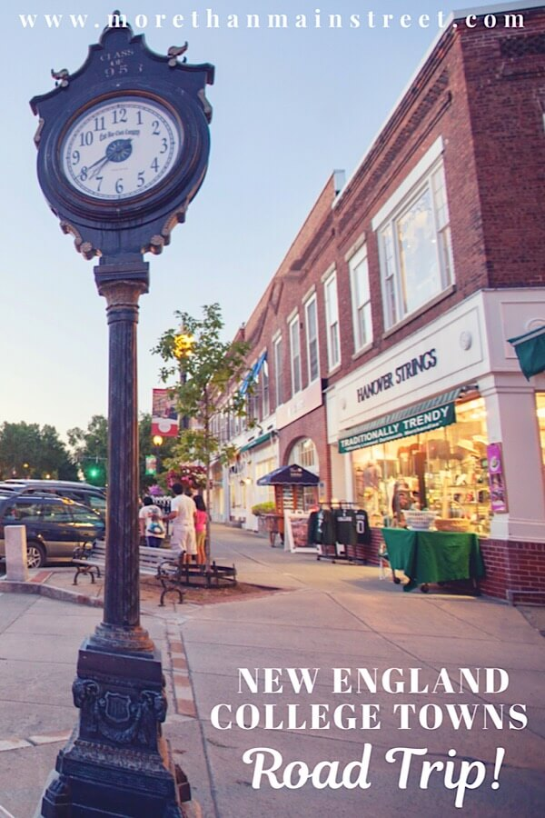 New England street with clock.