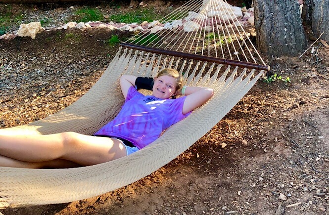 Relaxing in our hammock!