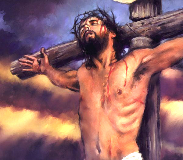 bloody painting of Jesus on the cross