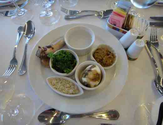 Seder plate at our seder at sea