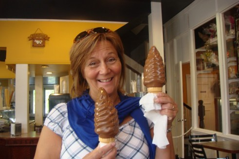 A satisfied Quebecoise in the ice cream parlor in Vieux-Levis