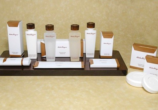 Ferragamo hotel toiletries at Waldorf-Astoria properties