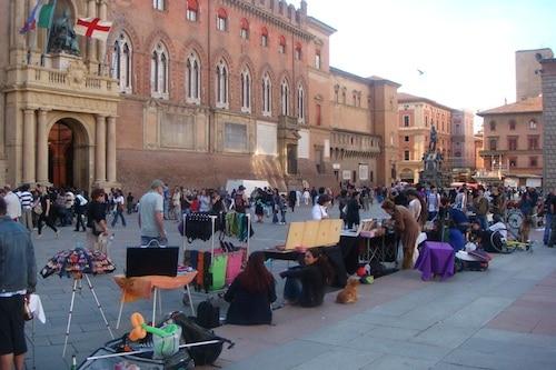 Piazza Maggiore in Bologna, Italy
