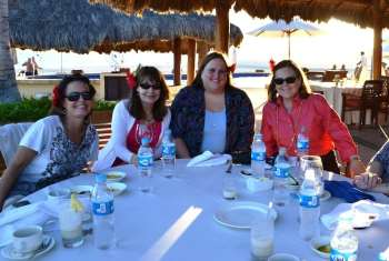 Four of The Traveling Ladies at Lunch at Zoetry Resort, Los Cabos