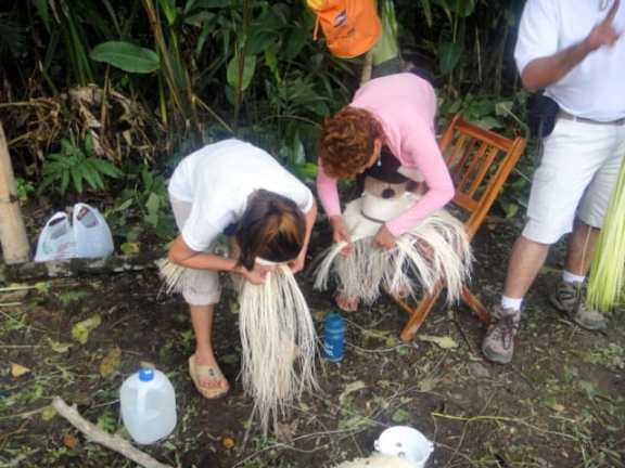 Women weaving Panama hats