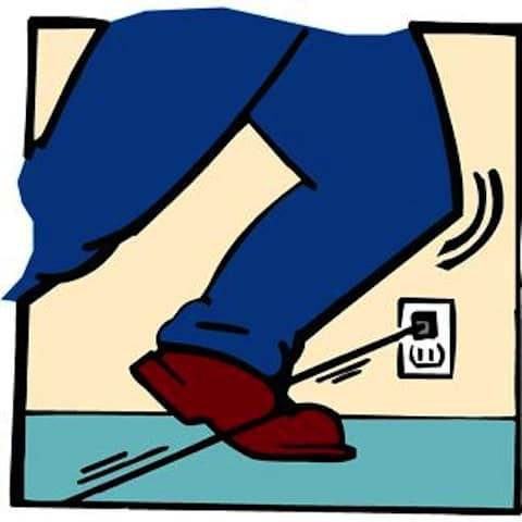 Even a laptop power cord can be a hazard (Photo credit: Microsoft Clip Art)