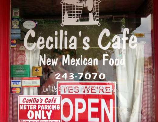 The front window of Cecilia's Cafe