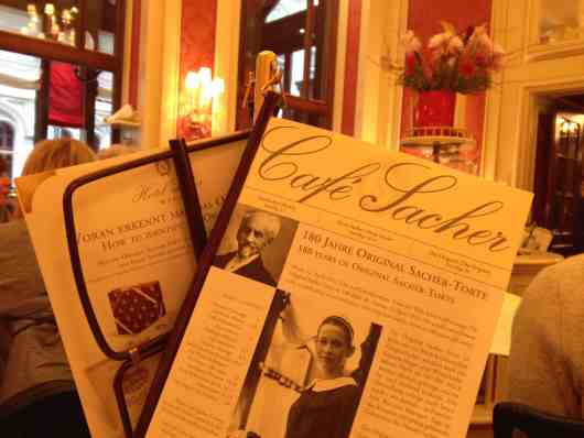 Menu at Cafe Sacher