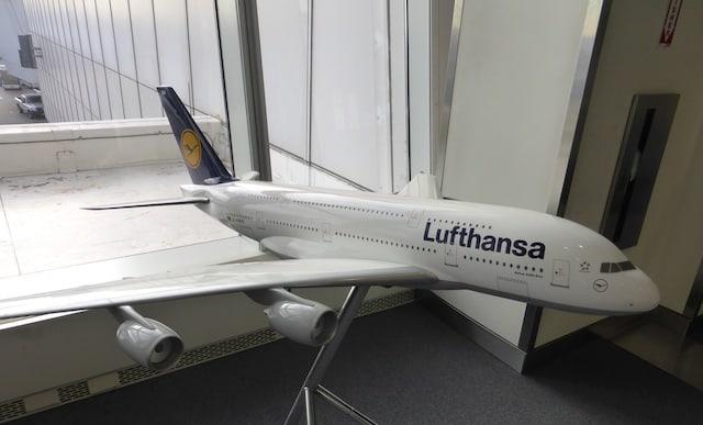 Lufthansa model on display at JFK