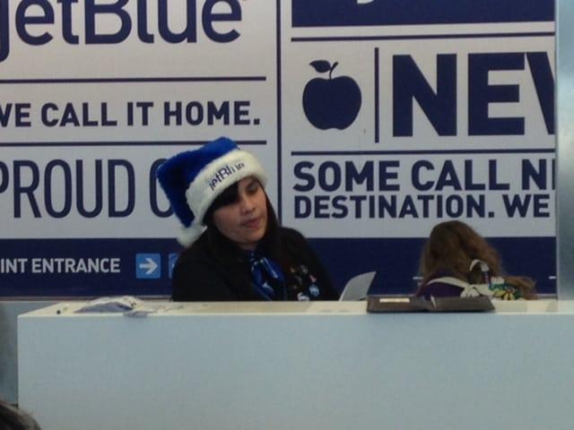 Jet Blue Employee catches the spirit