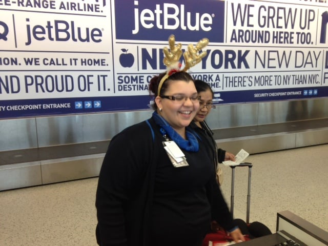 Jet Blue Gate Employee with Reindeer Ears