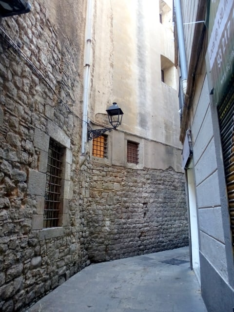 The narrow streets of the Gothic quarter in Barcelona, Spain