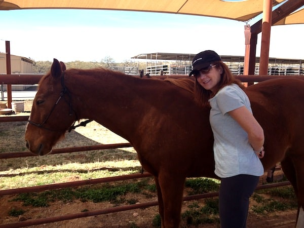 Author beside a horse