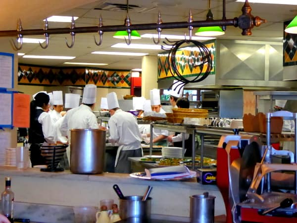The bustling open kitchen