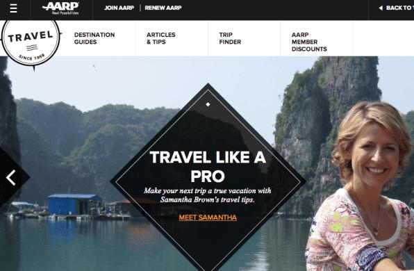 AARP Travel Website (screenshot)