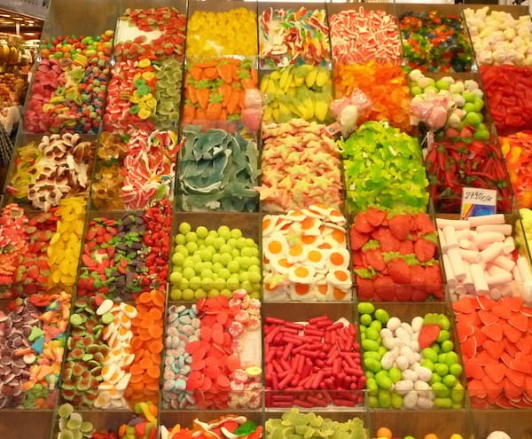 One of the beautiful displays at the Boqueria Market in Barcelona