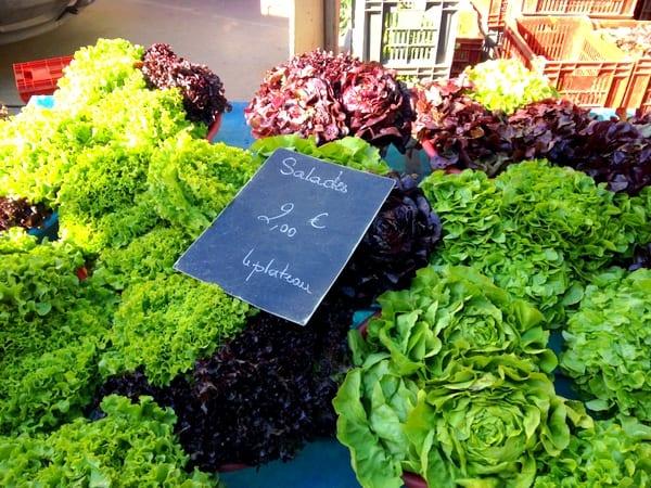 Fresh salad greens at Carnot Market