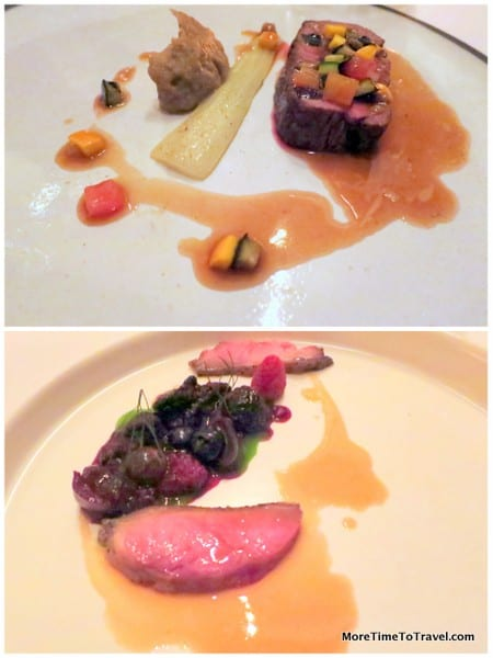 Duck with cherries, berries and lovage; roast beef with bok choy and eggplant