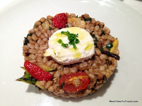 Farro with grilled summer vegetables and goat cheese