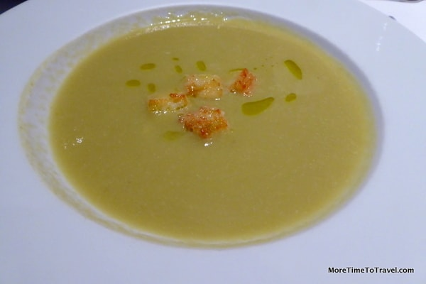 Asparagus puree soup with cheese croutons parmigiana