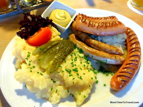 Sausage plate at beer garden in Regensburg