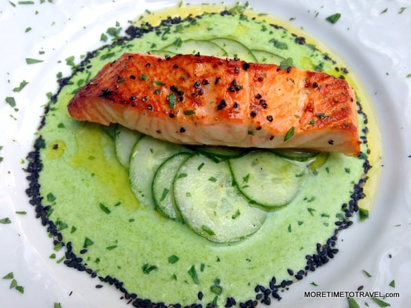 Broiled salmon at Barbetta