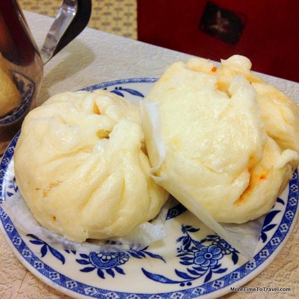 House Special Roast Pork Bun 本楼叉烧包 Steamed wheat flour bun filled with pork and caramelized onions
