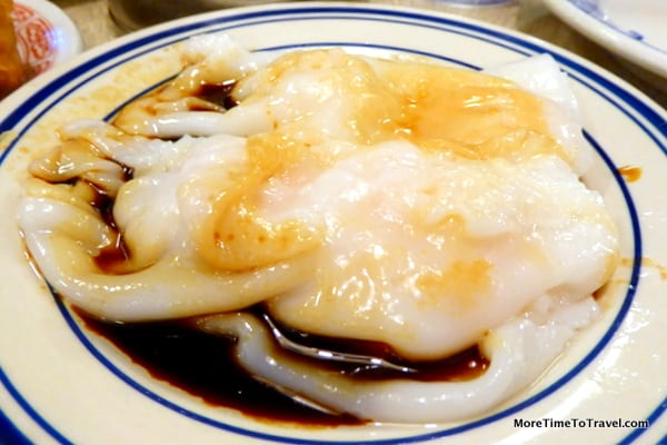 Shrimp Rice Roll 虾肠 Steamed rice flour noodle with shrimp drizzled with sweet soy sauce; gluten free