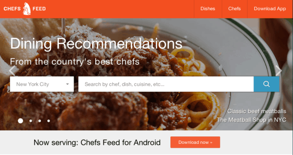 Chef's Feed (screen shot)