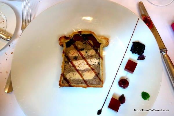 Bresse chicken (a breed of chicken from Rhone-Alps region) and Foie Gras Pate en Croute at La Mere Brazier