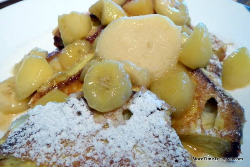French toast with orange butter and passion fruit syrup