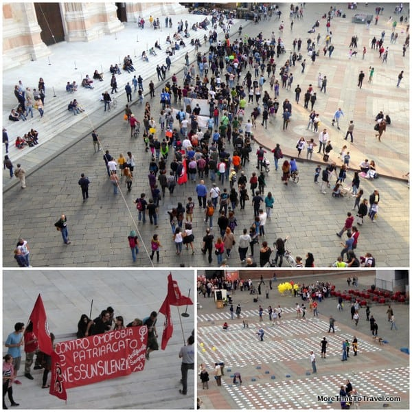 Top picture, students march to protest homophobia; bottom right, organizers place plates on the ground to collect funds and raise awareness of world hunger.