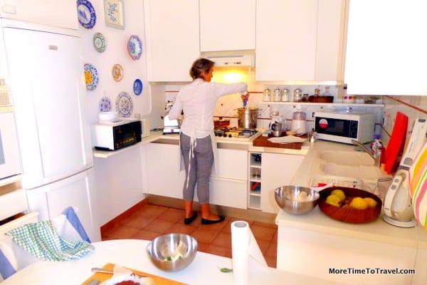 Cesarina Luisa in her mother's kitchen