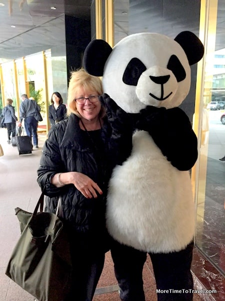 Welcomed by a panda