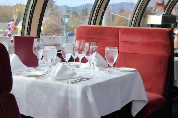 Interior of dining car on Napa Valley Wine Train (Photo credit: Jerome Levine)