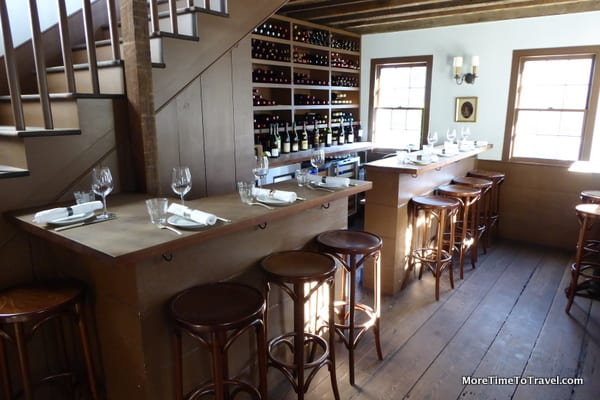 The intimate bar at Chez Nous restaurant